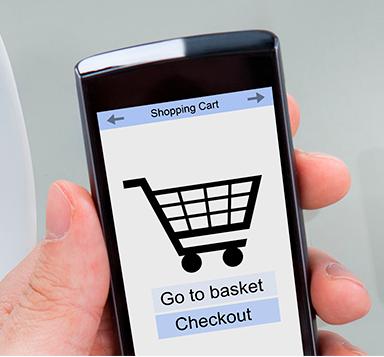 Viser en handlekurv på mobil