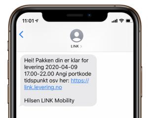 Eksempel på SMS fra logistikkselskap2