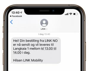 Eksempel på SMS fra logistikkselskap