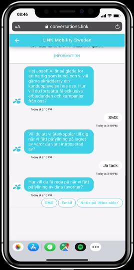 En mobil med SMS